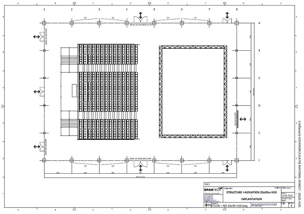 plan de masse de la salle de spectacle de théâtre